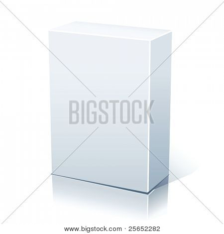 Vector blank white box isolated on white