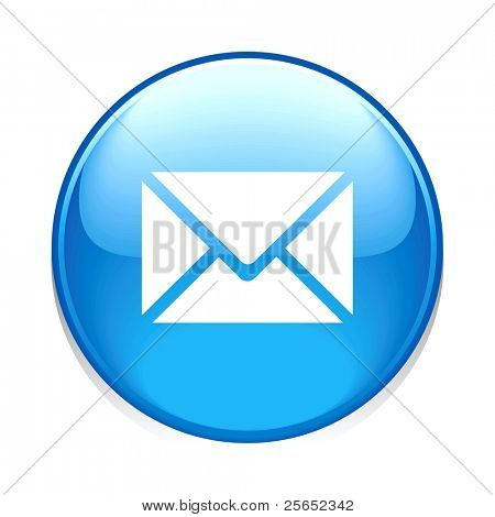 Raster e-mail circle blue button icon isolated on white