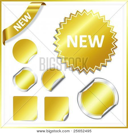 Set vector gold stickers