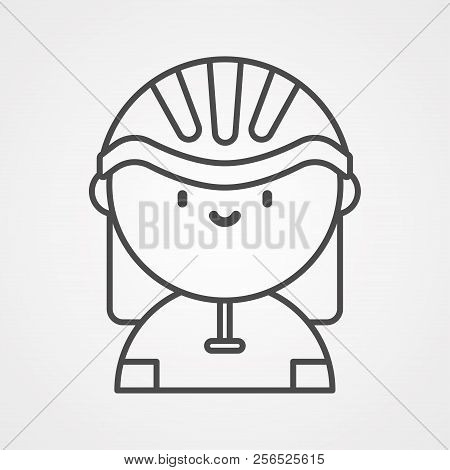 Cyclist Icon. Simple Flat Logo Of Cyclist On White Background. Silhouette Of A Cyclist. Vector Illus