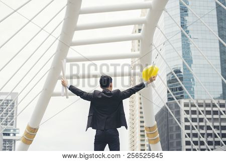 Successful And Victory Sign Concept.professional Men Manager Wear Black Suit Feeling Success,victory
