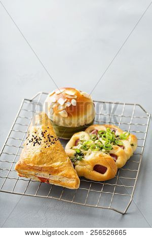 Savory Red Bean, Pork And Green Onion Pastries From Chinese Bakery