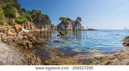 Spain Mediterranean Sea, Bay In Lloret De Mar. Beautiful Seaside Bay In Costa Brava. Amazing Seascap