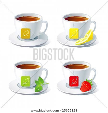 Set of four vector cups of tea with tea bag.