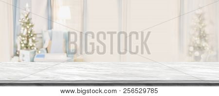 Empty Grey Marble Table Top With Abstract Warm Living Room Decor With Christmas Tree Blur Background