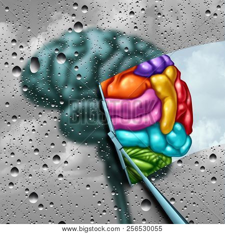 Brain Creativity As A Gray Blurry Brain With Drops On A Window As A Wiper Cleans The Confusion To A