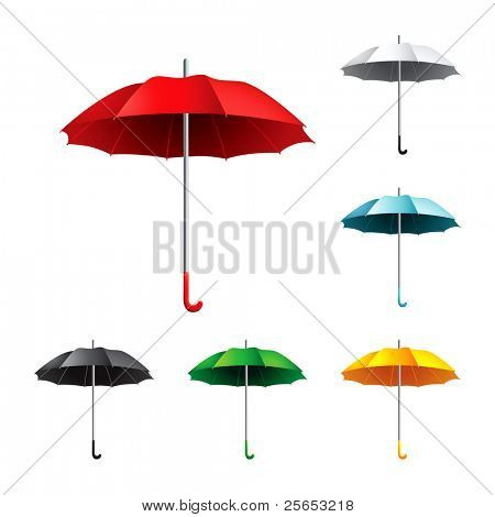 Vector Illustration of collection open varicolored   umbrellas.