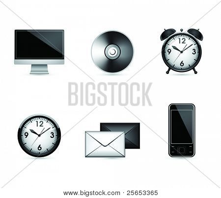 Six office end business black  icons. Vector .