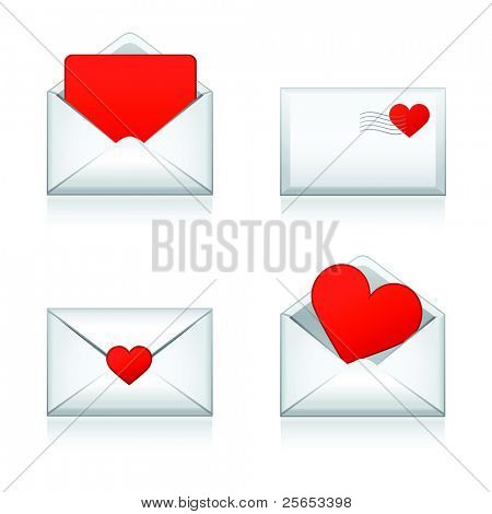 Set vector e-mail, envelop icons with heart .For Valentine Day.