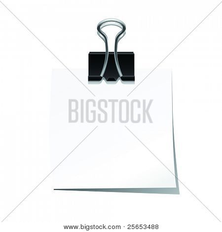 Note pad with black paperclip isolated on white background..