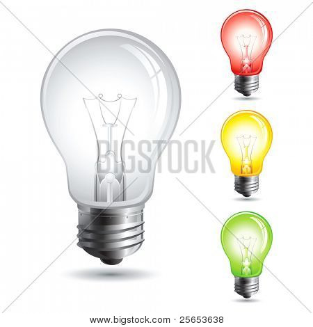 Set realistic vector illustration of a light bulb isolated on white.Traffic lights.