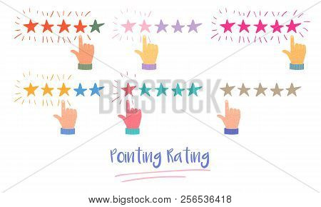 Vector Cartoon Illustration Of Customer Or Reader Review Concept. Rating Stars. Feedback, Reputation