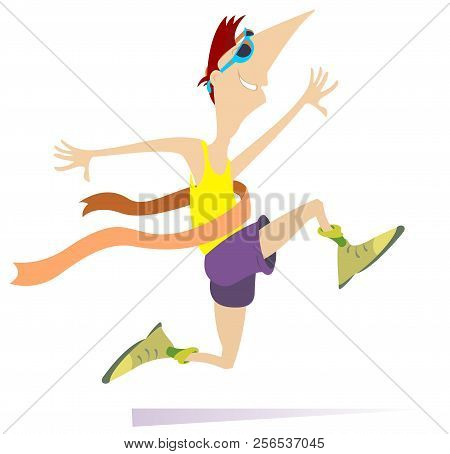 Running Man, Winner Ribbon Isolated Illustration. Smiling Running Young Sportsman With A Winner Ribb