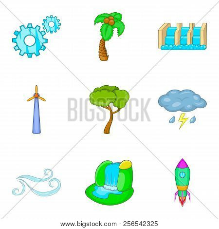 Waterworks Icons Set. Cartoon Set Of 9 Waterworks Icons For Web Isolated On White Background