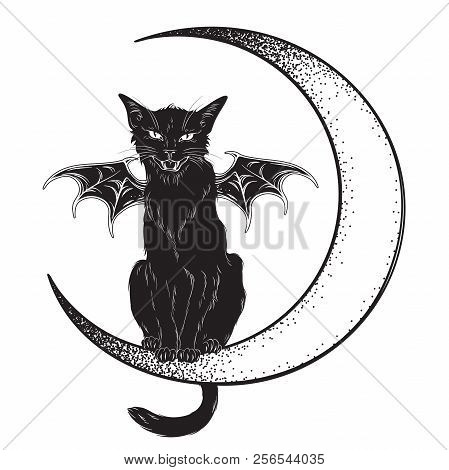 Black Cat With Bat Wings Sitting On The Crescent Moon Isolated Line Art And Dotwork Vector Illustrat