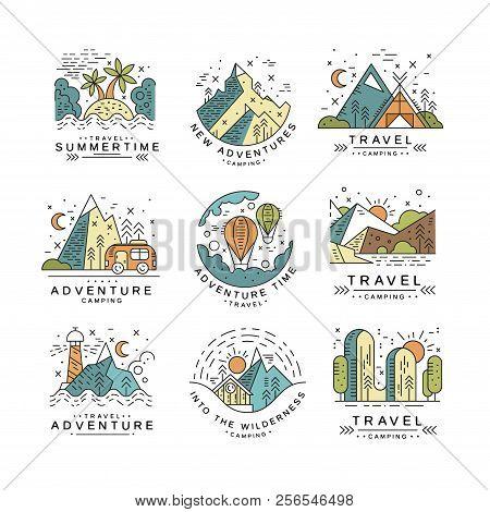 Travel Summertime Logo Design, Summer Vacation Emblem, Adventure, Travel, Tourism, Mountaineering An