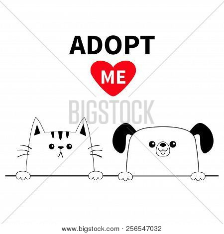 poster of Cat dog head face set. Hands paw holding line. Adopt me. Help homeless animal Pet adoption. Red heart. Cute cartoon kitty puppy character. Funny baby kitten pooch. Flat design White background Vector