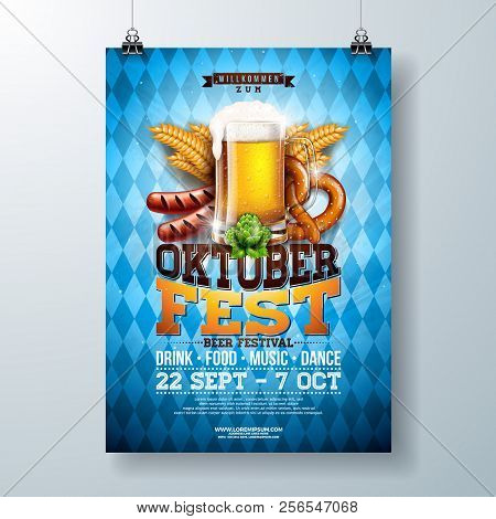 Oktoberfest Party Poster Illustration With Fresh Lager Beer, Pretzel, Sausage And Wheat On Blue And