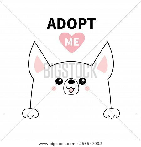 poster of Chihuahua dog head face. Hands paw holding line. Adopt me. Help homeless animal Pet adoption. Pink heart. Cute cartoon puppy character. Funny baby pooch. Flat design. White background Vector
