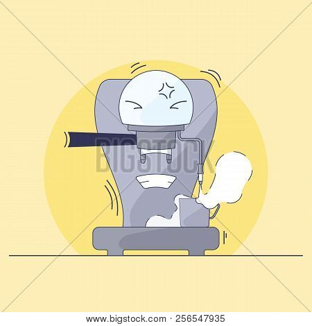 Coffee Maker Character. Humanization Of Electronics. Capucciator Is Stirring Milk. Illustration In S