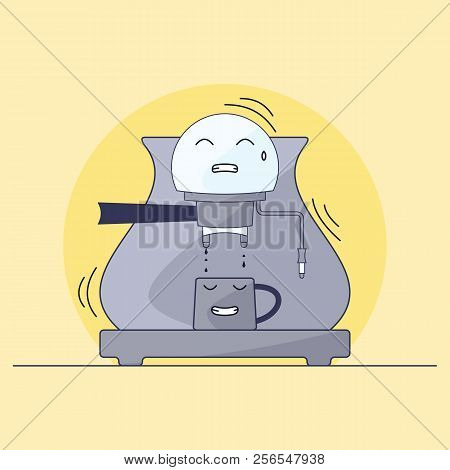 Coffee Maker And Mug Character. Humanization Of Things. Prepare A Cup Of Hot Coffee. Illustration In