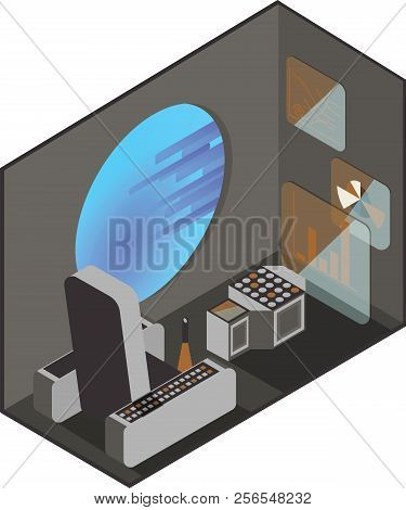 Cabin Space Shuttle Pilot. Monitors And Management Interfaces. Illuminator With Outer Space. Isometr