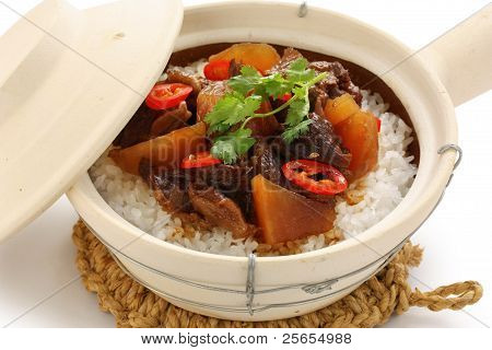 clay pot beef rice, chinese cuisine
