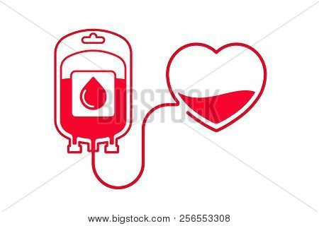 Blood Donation Vector Illustration. Donate Blood Concept With Blood Bag And Heart. World Blood Donor