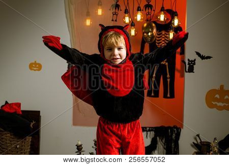 Happy Halloween With Pumpkins On A Halloween Background. Halloween Party. Holiday Concept. Halloween