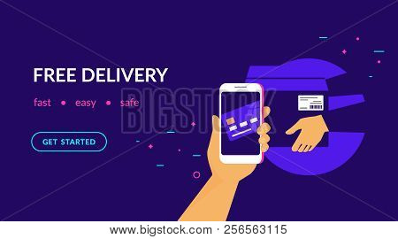 Free Delivery For Clients How Pay By Credit Card Via Mobile App. Flat Vector Neon Website Template A