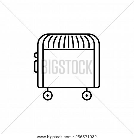 Vector Illustration Of Electric Convector. Line Icon Of Portable House Heater. Isolated On White Bac