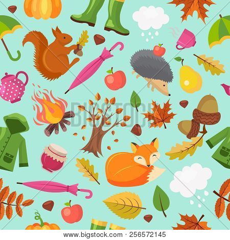 Autumn Animals Pattern. Forest Fall Cute Fox Hedgehog And Orange Squirrel In Yellow Leaves Vector Au