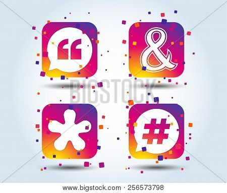 Quote, Asterisk Footnote Icons. Hashtag Social Media And Ampersand Symbols. Programming Logical Oper
