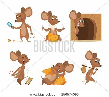 Mouse Character. Funny Cartoon Mice. Vector Clipart Isolated On White. Illustration Of Mouse Mascot,