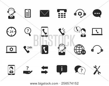 Black Symbols Of Online Support. Icon Set Of Call Center Isolate On White. Service Online Phone, Sup