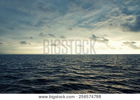 Sea Wave Surf. Sea Waves. Gloomy Background With A Sea Of Uneasy Plank. Empty Sea Background. Dark T