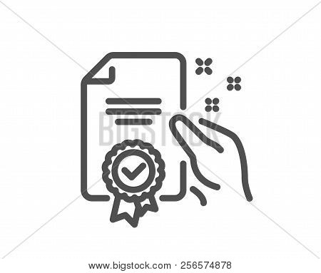 Certificate Line Icon. High Quality Or Guarantee Sign. Verified Document Symbol. Quality Design Elem