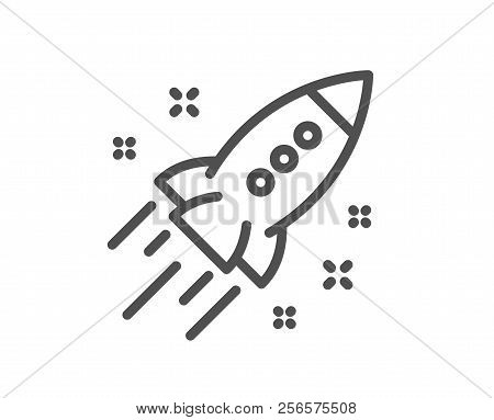 Startup Rocket Line Icon. Launch Project Sign. Innovation Symbol. Quality Design Element. Classic St