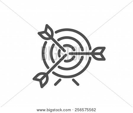 Target Line Icon. Marketing Targeting Strategy Symbol. Aim With Arrows Sign. Quality Design Element.