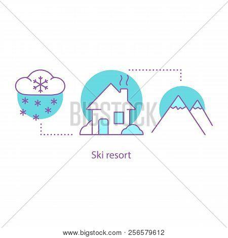 Winter Season Concept Icon. Ski Resort. Snowy Weather Idea Thin Line Illustration. Mountain Cottage.