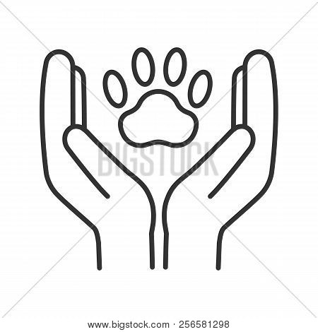 Animal Welfare Linear Icon. Thin Line Illustration. Hands Holding Paw. Pets Care. Contour Symbol. Ve
