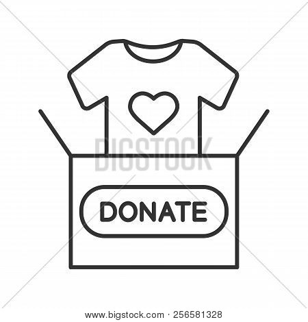 Clothes Donating Linear Icon. Thin Line Illustration. Donation Box With T-shirt. Used Clothes. Chari