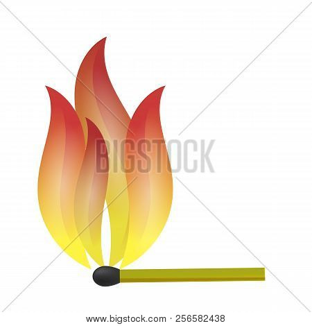 Burning Match With Fire Flame Isolated On White Background