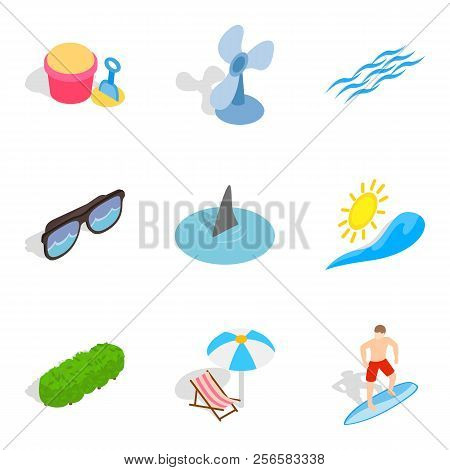 Peaceful Rest Icons Set. Isometric Set Of 9 Peaceful Rest Icons For Web Isolated On White Background