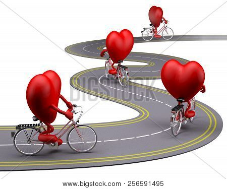 Hearts Cartoon With Arms And Legs On Bicycle On The Road, 3d Illustration