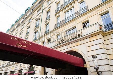 Berlin, Germany - May 15 2018: Hotel Adlon Kempinski Logo On Hotel Building Near Brandenburg Gate On