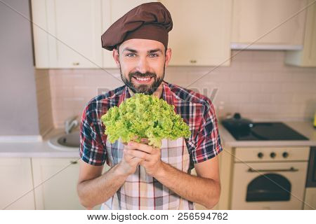 Nice And Cheerful Man Stands And Looks On Camera. He Is Happy. Guy Holds Green Letuce In Hands. Man