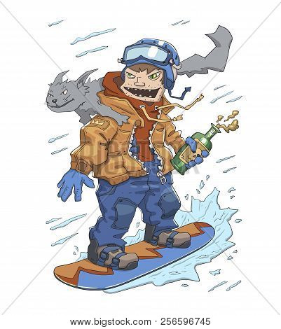 Funny guy with a bottle of booze and a cat on his shoulder riding on a snowboard. Monster of snowboarding, crazy rider. Flat vector illustration, cartoon style. poster