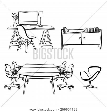 Office Interior Objects Drawing. Hand-drawn Vector Sketch. Business Concept Design.