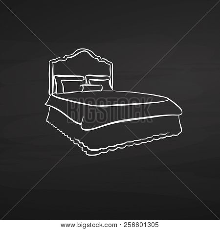 Bed Drawing On Chalkboard. Hand-drawn Vector Sketch. Business Concept Design.